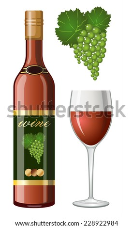 Wine bottle and glass. vector - stock vector