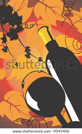 wine bottle and goblet in floral background