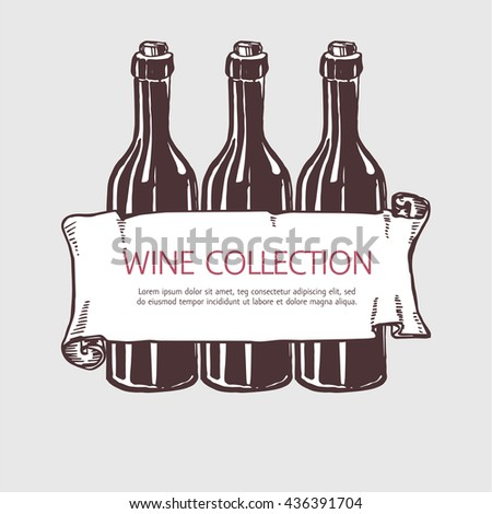 Wine bottle collection with banner. Vector handdrawn sketch illustration. - stock vector