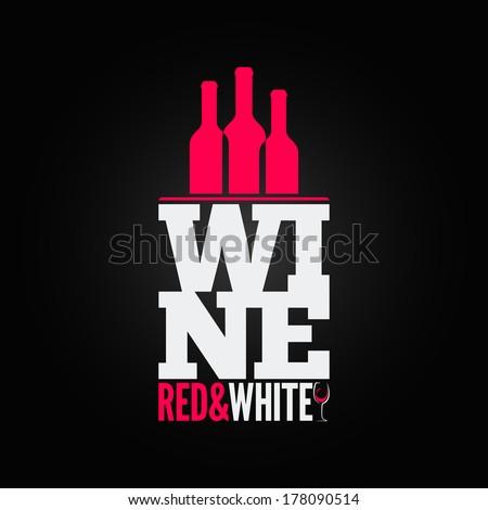 wine bottle glass design menu background - stock vector