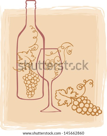 Wine bottle & glass vector illustration - stock vector
