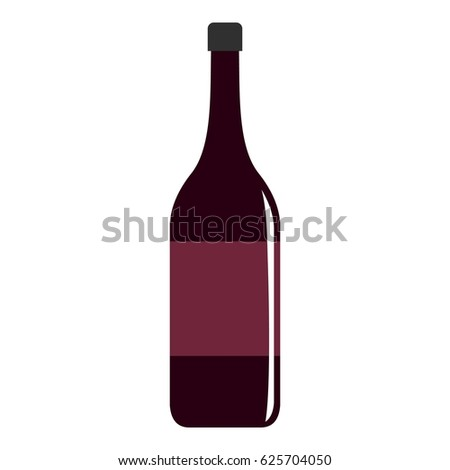 Wine bottle icon flat isolated on white background vector illustration