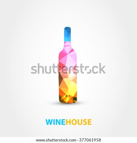 wine bottle polygon design on white background - stock vector