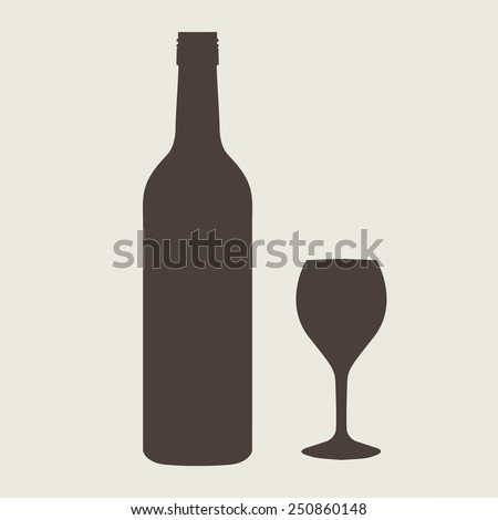 wine bottle sign set with wineglass - stock vector