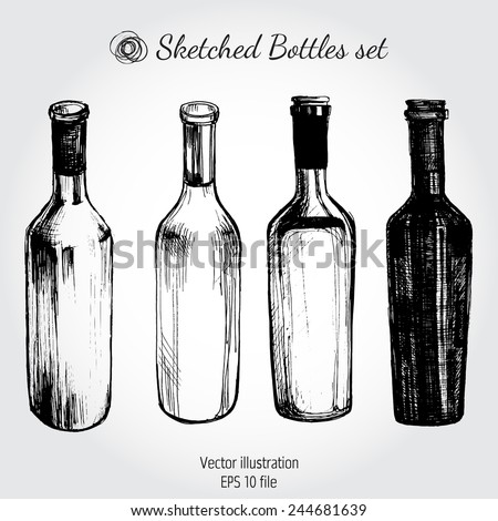Wine Bottle Sketch Vintage Illustration Stock Photo Vector