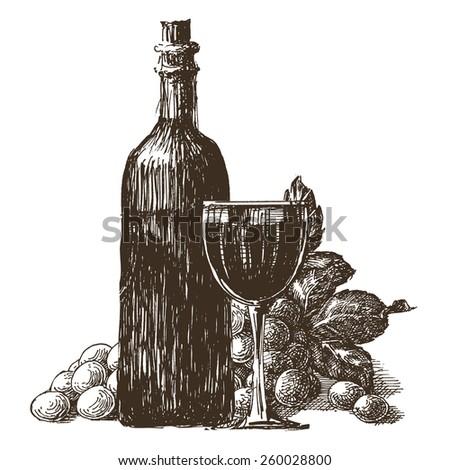 wine bottle vector logo design template. wineglass or grape icon. - stock vector