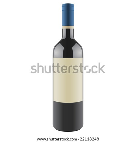 Wine bottle with a blank label, vector - stock vector