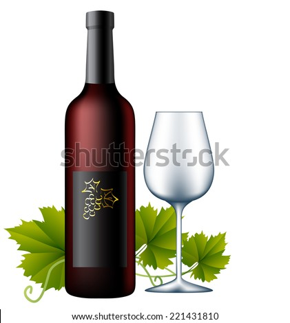Wine bottle with glass and grape leaves - stock vector