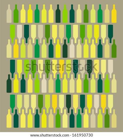 Wine Bottles Background - stock vector