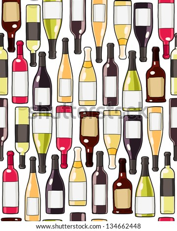 wine bottles seamless pattern. repeated background with wine glass bottles