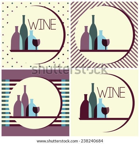 wine bottles,wine design - stock vector
