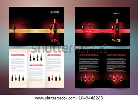 Wine Brochure Set Design Template Trifold Stock Vector 2018