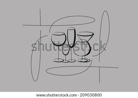 Wine card menu with glasses of alcohol drinks.Vector  version.