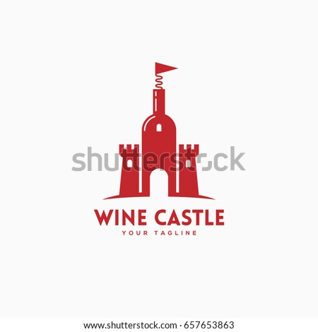 Wine Castle Logo Template Design Bottle Stock Vector