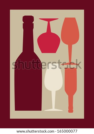 wine design over red background vector illustration