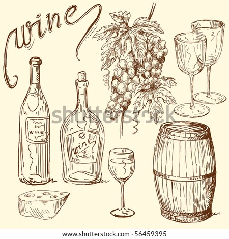 wine doodles - stock vector
