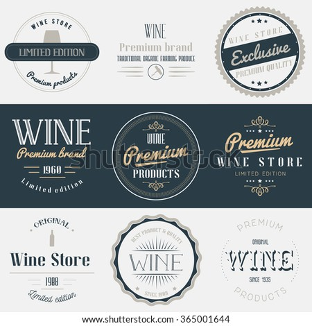 Wine drink labels set. Brands design elements, emblems, logo, badges and stickers. Isolated vector illustration in vintage style. - stock vector