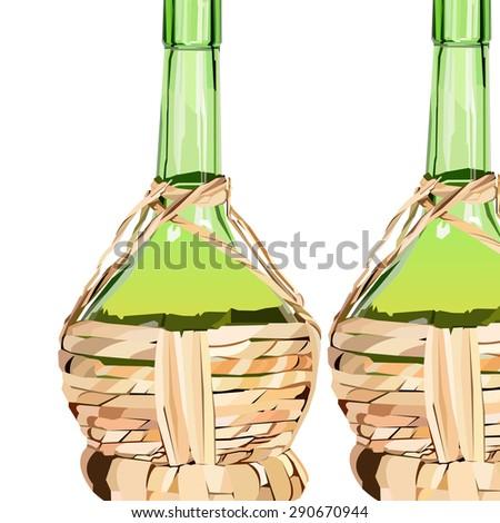 wine glass alcohol bottle drink vector illustration - stock vector