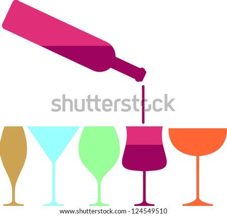 Wine glass and bottle pab bar design  vector illustration - stock vector