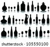 Wine glass and bottle silhouettes 2-vector - stock vector