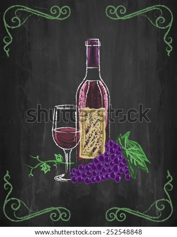Wine glass and bottle with grapes and vines on chalkboard background, vector, illustration - stock vector