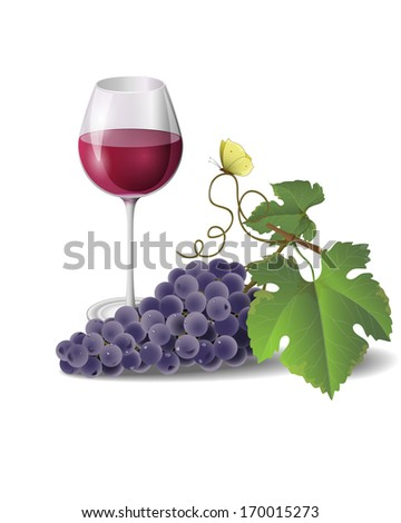 Wine glass and bunch of grapes isolated on white.