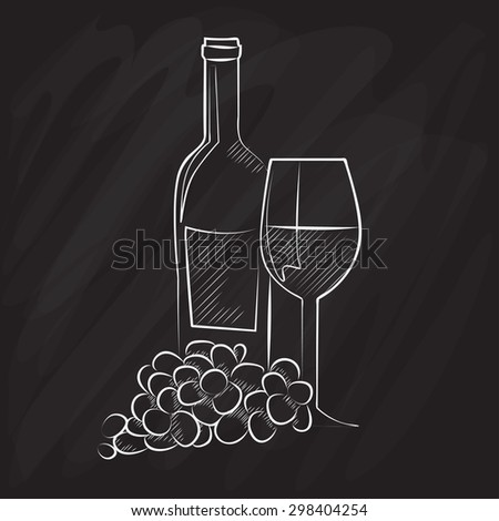 Wine grapes stock vectors vector clip art shutterstock for Wine chalkboard art