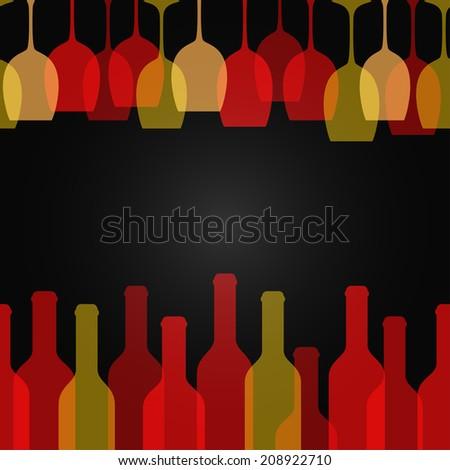 wine glass bottle art design background - stock vector