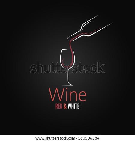 wine glass concept menu design - stock vector
