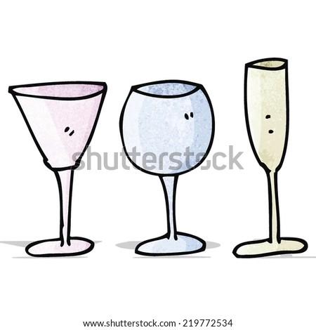wine glass doodles - stock vector