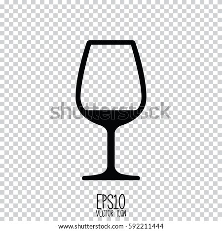 wine glass icon flat style for graphic and web design modern simple vector sign