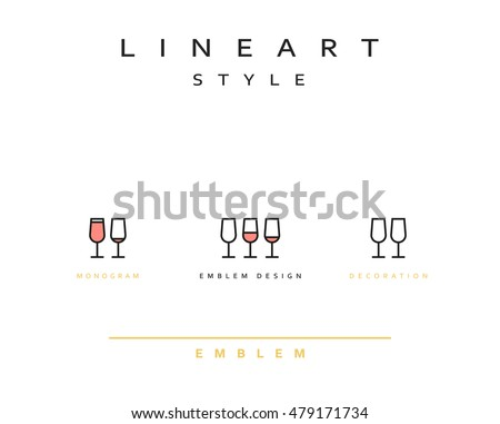 Wine glass icon style line art. Vintage glass icon. Monogram emblem for restaurant design style linear. Design element