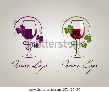 Wine glass logo template - stock vector