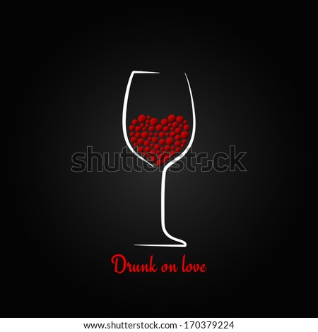 wine glass love concept valentines day design background - stock vector