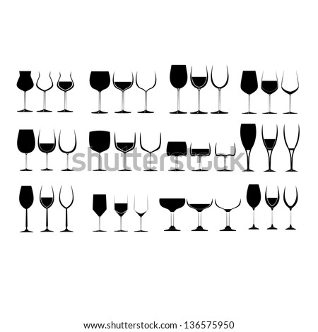 Wine Glass Silhouette Collection - stock vector