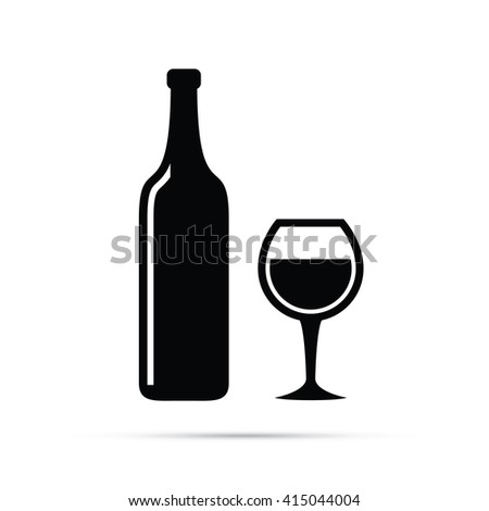Wine Glass & Wine Bottle Icon - stock vector