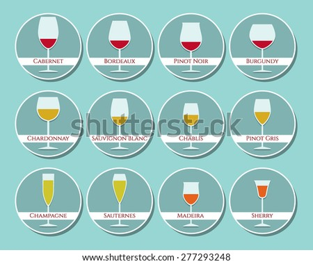 Wine glasses icon set made in vector in flat style. Simple illustration of pairing wine with the right wine glass. Perfect for any business related to the wine consumption. - stock vector