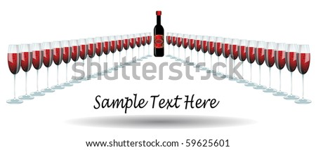 wine glasses of red wine in a triangle line, on white background - stock vector
