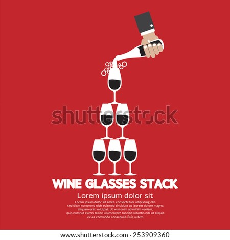 Wine Glasses Stack On Red Background - stock vector