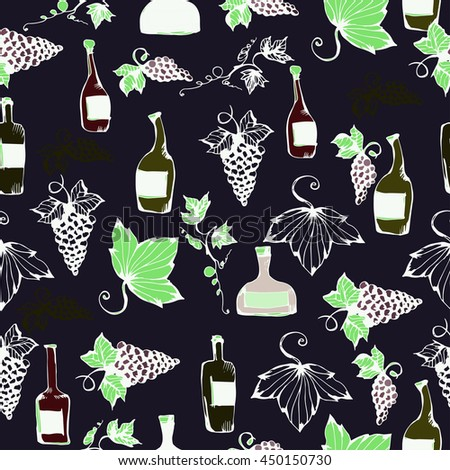 Wine&grape seamless pattern. Wine making products in sketch style. Vector illustration with wine, grapes, grape twig. Classical alcoholic drink. wine design elements. Black background. - stock vector