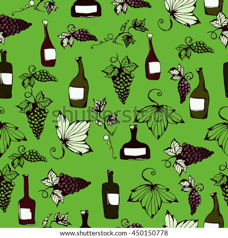 Wine&grape seamless pattern. Wine making products in sketch style. Vector illustration with wine, grapes, grape twig. Classical alcoholic drink. wine design elements. Green background. - stock vector