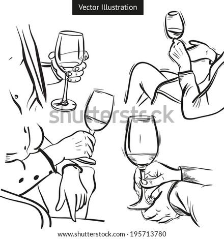 Wine House. Vector illustration isolated on white background. Tasting wine. - stock vector