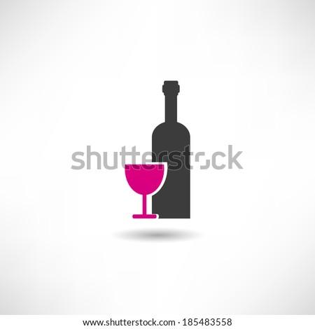Wine icon - stock vector