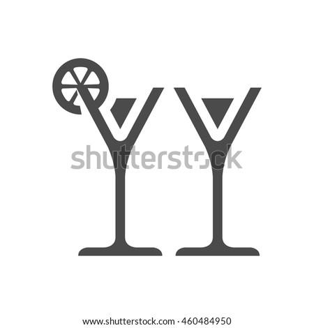Wine icon in single color. Romantic, couple, grey. - stock vector