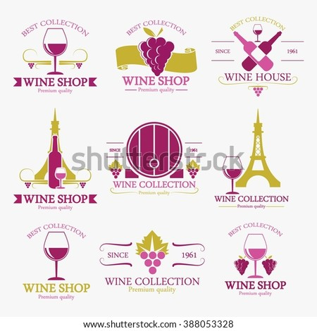 Wine icons set - glass, bottle, restaurant - stock vector