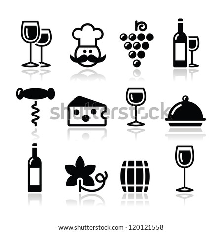 Wine icons set - glass, bottle, restaurant, food - stock vector