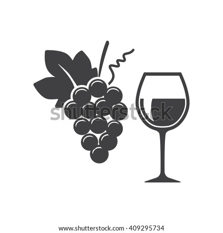 Wine in glass icon Vector Illustration on the white background. - stock vector