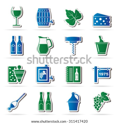 Wine industry objects icons -vector icon set - stock vector