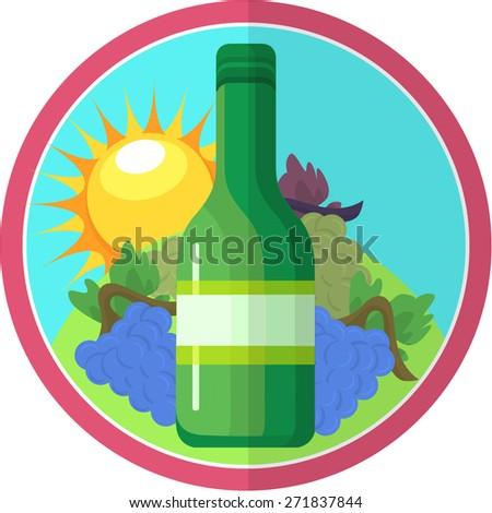 Wine Label Illustration - stock vector