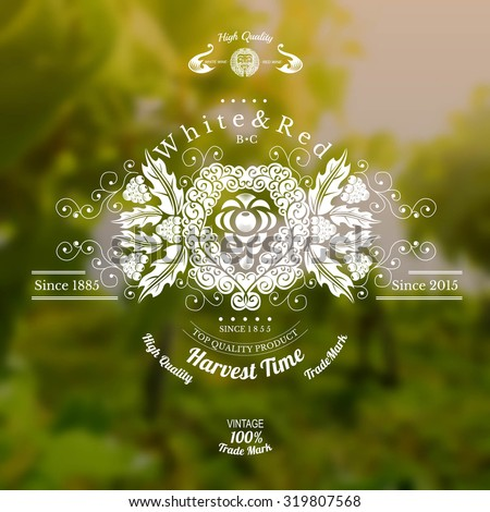 wine label with grapes in center and pattern around on realistic blurred background - stock vector